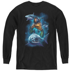 Image for Aquaman Movie Youth Long Sleeve T-Shirt - Swimming with Sharks