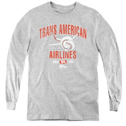 Image for Airplane Youth Long Sleeve T-Shirt - Trans American Airlines