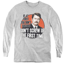Image for Parks & Rec Youth Long Sleeve T-Shirt - Don't Screw Up