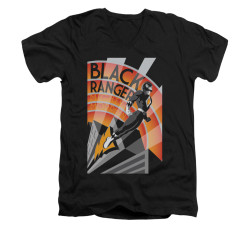 Image for Power Rangers T-Shirt - V Neck - Black Ranger Deco