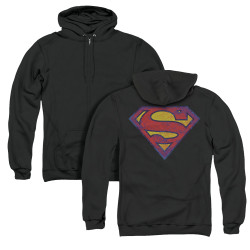 Image for Superman Zip Up Back Print Hoodie - Sm Neon Distress Logo