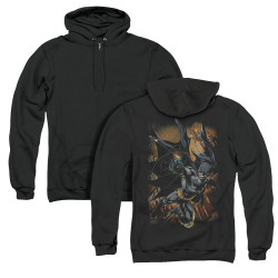 Image for Batman Zip Up Back Print Hoodie - Grapple Fire