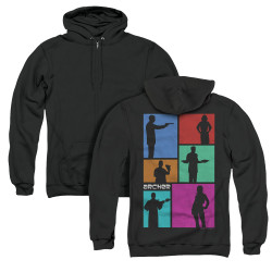 Image for Archer Zip Up Back Print Hoodie - Silhouettes