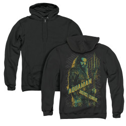 Image for Justice League Movie Zip Up Back Print Hoodie - Aquaman