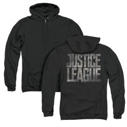 Image for Justice League Movie Zip Up Back Print Hoodie - Metal Logo