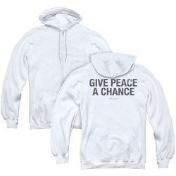 Image for John Lennon Zip Up Back Print Hoodie - Give Peace a Chance