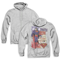 Image for Superman Zip Up Back Print Hoodie - Truth Justice