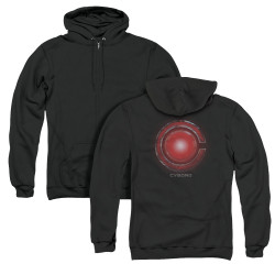 Image for Justice League Movie Zip Up Back Print Hoodie - Cyborg Logo