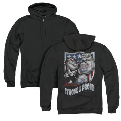 Image for Popeye the Sailor Zip Up Back Print Hoodie - Strong & Proud