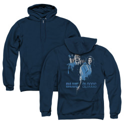 Image for Blue Bloods Zip Up Back Print Hoodie - Blue Inverted