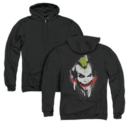 Image for Arkham City Zip Up Back Print Hoodie - Spraypaint Smile
