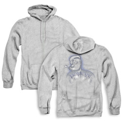 Image for Popeye the Sailor Zip Up Back Print Hoodie - Back Tat