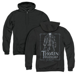 Image for The Hobbit Zip Up Back Print Hoodie - Thorin Stare