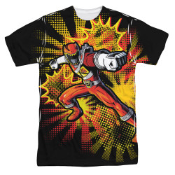 Image for Power Rangers Sublimated T-Shirt - Red Ranger Burst 100% Polyester