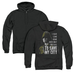 Image for Arrow Zip Up Back Print Hoodie - Save My City