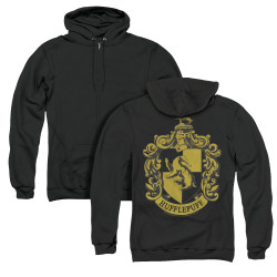 Image for Harry Potter Zip Up Back Print Hoodie - Hufflepuff Logo