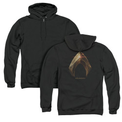 Image for Justice League Movie Zip Up Back Print Hoodie - Aquaman Logo