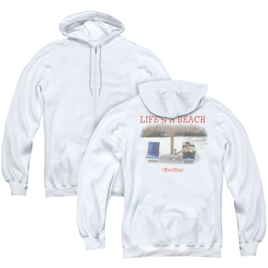 Image for Office Space Zip Up Back Print Hoodie - Life's a Beach