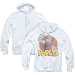 Image for Popeye the Sailor Zip Up Back Print Hoodie - Retro Ring White