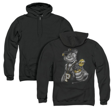 Image for Popeye the Sailor Zip Up Back Print Hoodie - Get More Spinach