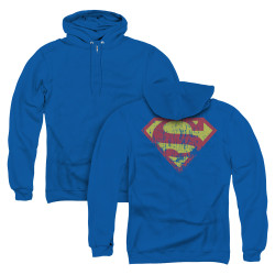 Image for Superman Zip Up Back Print Hoodie - Classic Logo Distressed