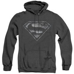 Image for Superman Heather Hoodie - Barbed Wire