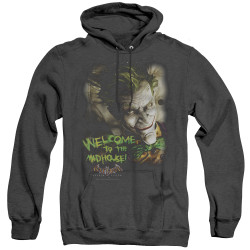 Image for Batman Arkham Asylum Heather Hoodie - Welcome To The Madhouse