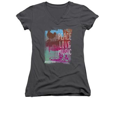 Image for Woodstock Girls V Neck T-Shirt - Peace Love Music