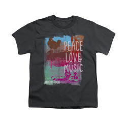 Image for Woodstock Youth T-Shirt - Peace Love Music