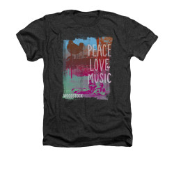 Image for Woodstock Heather T-Shirt - Peace Love Music