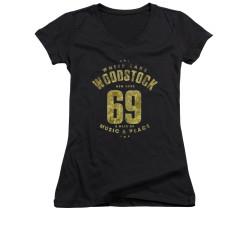 Image for Woodstock Girls V Neck T-Shirt - White Lake