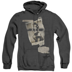 Image for Bettie Page Heather Hoodie - Newspaper & Lace