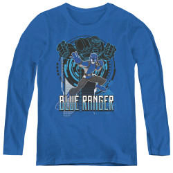 Image for Power Rangers Women's Long Sleeve T-Shirt - Beast Morphers Blue Ranger