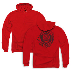 Image for Power Rangers Zip Up Back Print Hoodie - Beast Morphers Red Ranger Icon