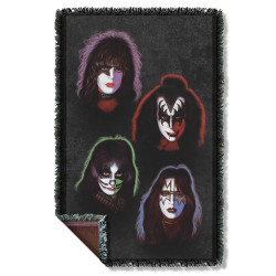 Image for Kiss Woven Throw Blanket - Solo Heads