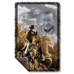 Image for John Wayne Woven Throw Blanket - Ride Em Cowboy