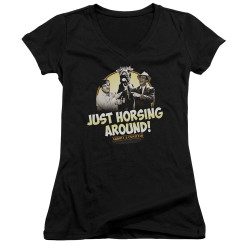 Image for Abbott & Costello Girls V Neck - Horsing Around