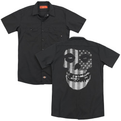 Image for The Misfits Dickies Work Shirt - Fiend Skull Flag