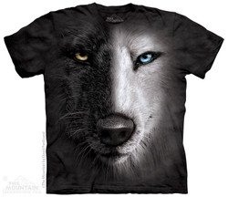 Image for The Mountain T-Shirt - B&W Wolf Face
