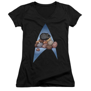 Image for Star Trek Cats Girls V Neck T-Shirt - Five Year Nap