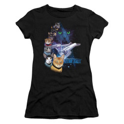 Image for Star Trek Cats Girls T-Shirt - Feline Galaxy