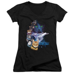 Image for Star Trek Cats Girls V Neck T-Shirt - Feline Galaxy