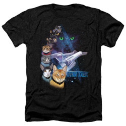 Image for Star Trek Cats Heather T-Shirt - Feline Galaxy