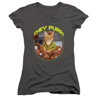 Image for Star Trek Cats Girls V Neck T-Shirt - The Purr