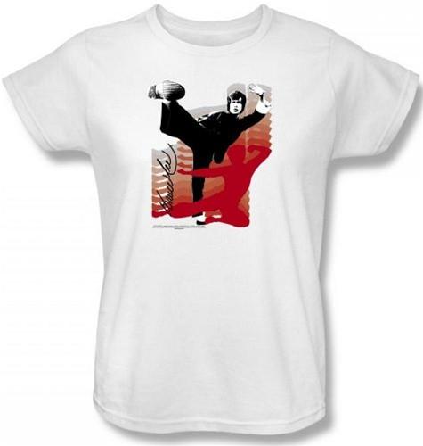 ce71a31f6 Bruce Lee Womans T-Shirt - Kick It! - NerdKungFu