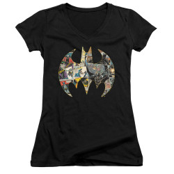 Image for Batman Girls V Neck T-Shirt - Collage Shield