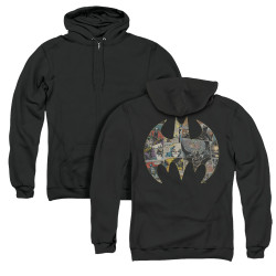 Image for Batman Zip Up Back Print Hoodie - Collage Shield