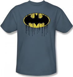 Image for Batman T-Shirt - Dripping Brick Wall Shield Logo