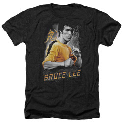Image for Bruce Lee Heather T-Shirt - Yellow Dragon