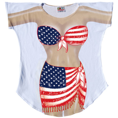 Front image for Flag Sarong Cover Up T-Shirt